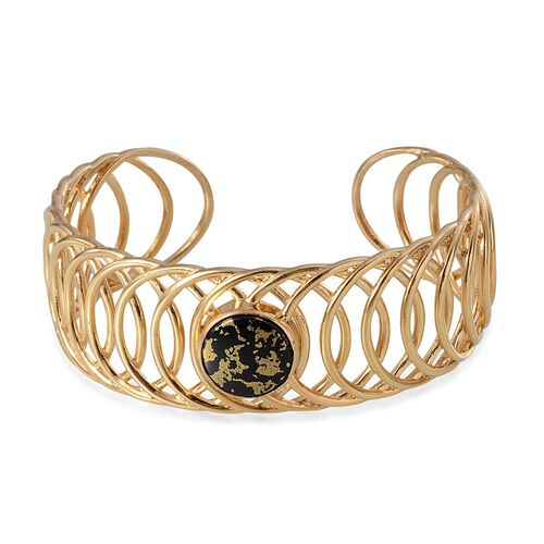 Goldenite (Rnd) Cuff Bangle in 14K Gold Overlay Sterling Silver (Size 7.5) 6.750 Ct. 40 Grams of Sterling Silver