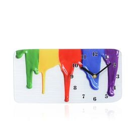Glass Table Clock - Paint (Size 30x15x4 Cm)