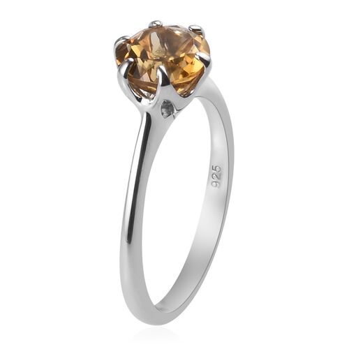 AA Citrine Solitaire Ring in Platinum 1Overlay Sterling Silver 1.25 Ct.