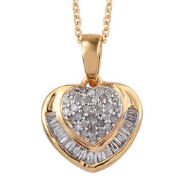 Diamond (Rnd and Bgt) Heart Pendant With Chain (Size 20) in 14K Gold Overlay Sterling Silver 0.330 C