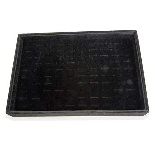 Black Colour 100 Pcs Velvet Ring Tray with Removable Cover (Size 35x24x4.20 Cm)