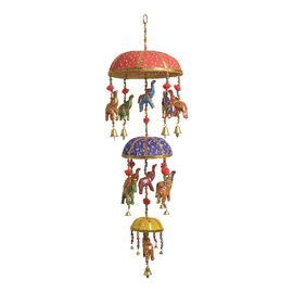 Home Decor - 3 Tier Beaded Strings with Bamboo Basket and Elephant Motif and Bells Hanging - Multico