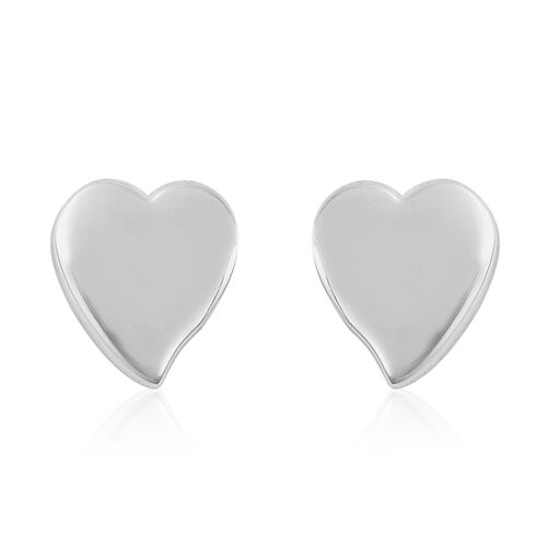 RACHEL GALLEY Rhodium Overlay Sterling Silver Heart Stud Earrings (with Push Back)