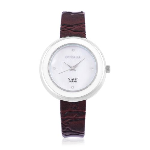 STRADA Japanese Movement White Austrian Crystal Studded MOP Dial Water Resistant Watch in Silver Tone with Chocolate Colour Strap