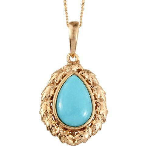Sonoran Turquoise (Pear) Solitaire Pendant With Chain in 14K Gold Overlay Sterling Silver 2.250 Ct.