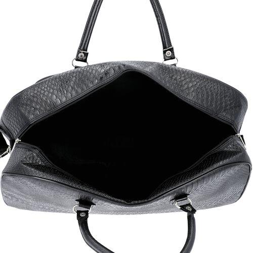 Snake Skin Pattern Duffle Bag with Detachable Shoulder Strap (Size 55x20x34 Cm) - Black