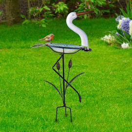 Garden Theme Crane Shaped Birdbath with Solar Light (Size 46x21.5x81cm)