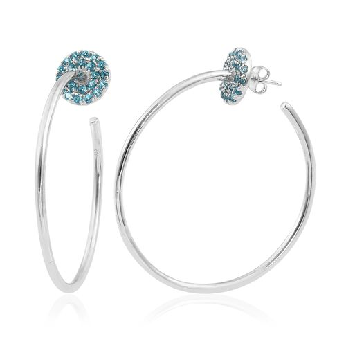 Designer Inspired - Signity Paraiba Topaz (Rnd) Hoop Earrings in Platinum Overlay Sterling Silver 1.