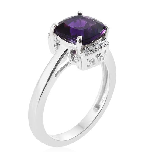 9K White Gold AA Lusaka Amethyst (Cush 2.00 Ct), Diamond Ring  2.050 Ct.