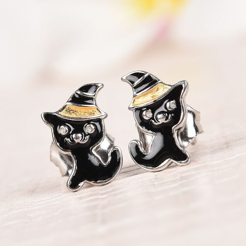 Platinum and Yellow Gold Overlay Sterling Silver Enamelled Kitty Kids Earrings (with Push Back)