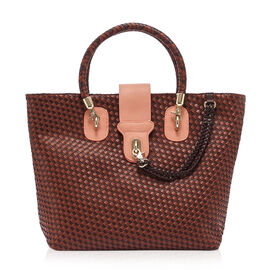 Cross Weave Pattern Tote Bag (Size 31x15x30 Cm)- Pastel Peach and Brown