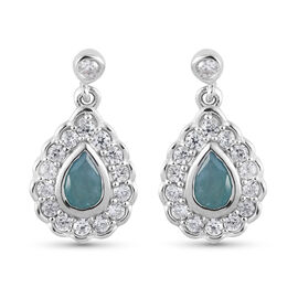 Grandidierite and Natural Cambdoian Zircon Earrings (with Push Back) in Platinum Overlay Sterling Si