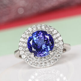 RHAPSODY 950 Platinum AAAA Tanzanite and Diamond (VS/E-F) Ring 4.80 Ct, Platinum wt 7.56 Gms