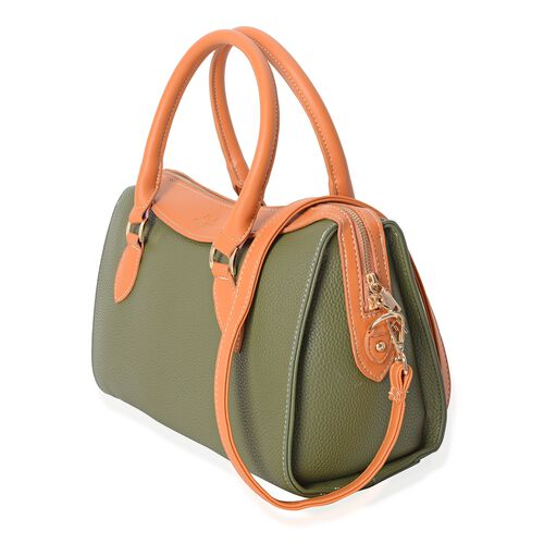 TW11 COLLECTION Dark Green Tote Bag with External Zipper Pocket and Removable Shoulder Strap (Size 32.5x24x14 Cm)