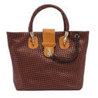 Cross Weave Pattern Tote Bag (Size 31x15x30 Cm) - Mustard Yellow and Brown