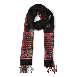Woven Ethnic Print Scarf (Size 70x200 mm) with Tassels - Black