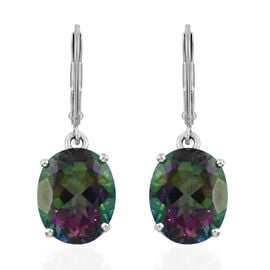 Mystic Green Topaz (Ovl) Lever Back Earrings in Platinum Overlay Sterling Silver 8.500 Ct.