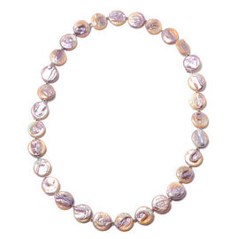 Baroque Freshwater Purple Pearl Beaded Necklace in Rhodium Plated Sterling Silver 24 Inch