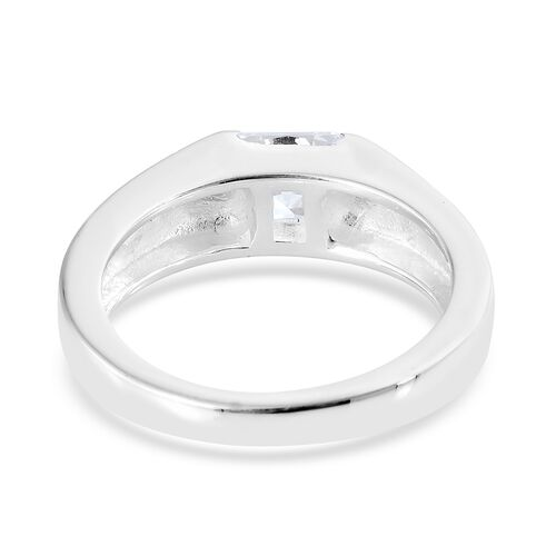 J Francis - Sterling Silver (Sqr) Solitaire Ring Made with SWAROVSKI ZIRCONIA