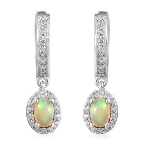 AA Ethiopian Welo Opal and Natural Cambodian Zircon Earrings (with Clasp) in Platinum Overlay Sterli