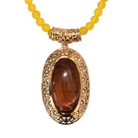 85.75 Ct Red Tiger Eye and Yellow Quartz Necklace in 18K Yellow Gold Plated