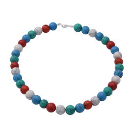 Multi Colour Howlite Beads Necklace (Size - 18) in Sterling Silver 360 Ct.