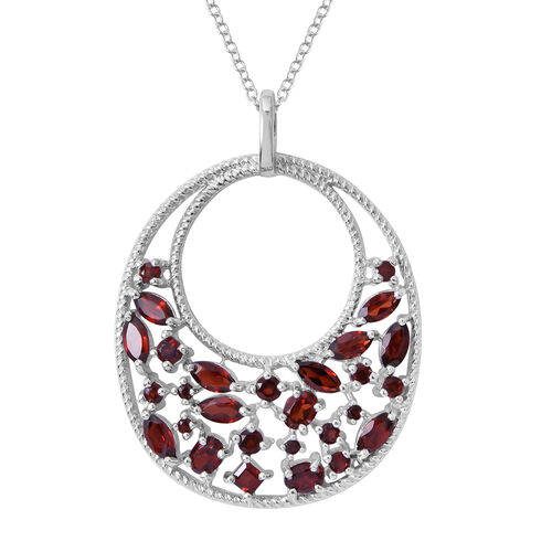 Designer Inspired-  AAA Mozambique Garnet (Ovl) Pendant with Chain in Rhodium Plated Sterling Silver 3.350 Ct. Silver wt 6.30 Gms.