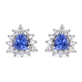 AA Tanzanite and Natural Cambodian Zircon Stud Earrings (with Push Back) in Platinum Overlay Sterlin