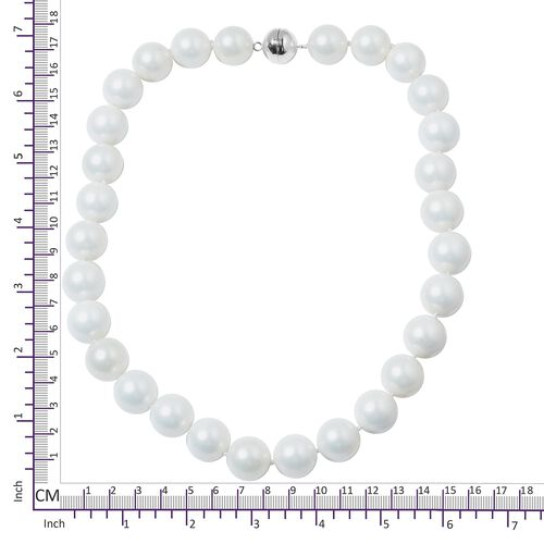 Rare Size White Colour  Shell Pearl  (15-17mm) Necklace (Size 20) with Magnetic Clasp in Rhodium Plated Sterling Silver