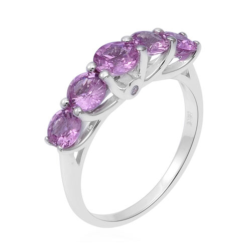 ILIANA 18K White Gold AAA Pink Sapphire (Rnd), Diamond (SI/G-H) Ring 2.140 Ct.