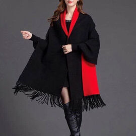 Kris Ans Reversible Wrap with Tassel (Size One, 170x75cm) - Black and Red