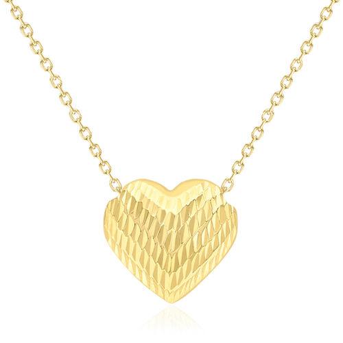 Designer Inspired-Italian 9K Y Gold Diamond Cut Sliding Heart Necklace (Size 18)