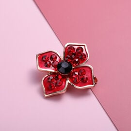 TJC Poppy Design - Simulated Black Spinel and Red Austrian Crystal Brooch in Yellow Gold Tone