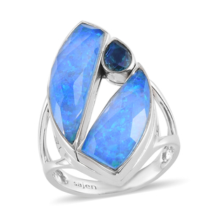 Sajen Silver ILLUMINATION Collection - Doublet Quartz, Opal and Pariba Ring in Rhodium Overlay Sterl