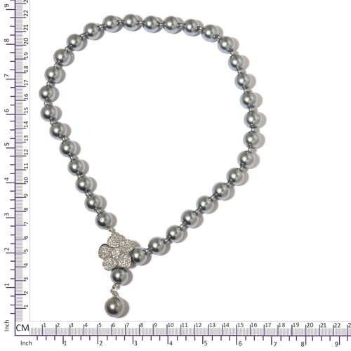Simulated Grey Pearl and White Austrian Crystal Flower Necklace (Size 22) in Silver Plated