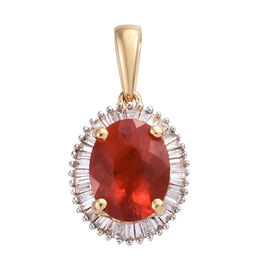 ILIANA 18K Yellow Gold AAAA Jalisco Fire Opal (Ovl), Diamond (SI/G-H) Pendant 1.350 Ct.