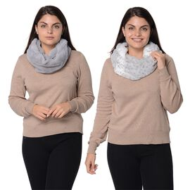 Set of 2 - Solid Colour and Leopard Pattern Winter Collar Snoods (Size 15.24x157.4 Cm) - Grey and Wh