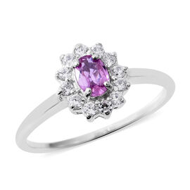 Pink Sapphire (Ovl), Natural White Cambodian Zircon Ring in Rhodium Overlay Sterling Silver 1.000 Ct.