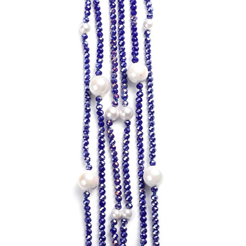 White Shell Pearl and Simulated Blue Sapphire 3-Row Necklace (Size 32 with 3 inch Extender) in Silver Tone