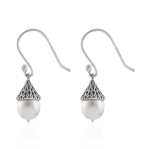 Hand Made- Fresh Water Pearl (Rnd 8mm) Fish Hook Earrings in Sterling Silver.