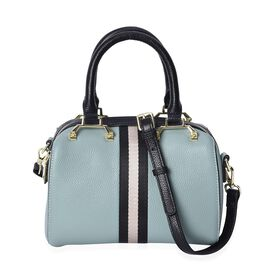 100% Genuine Leather Green Colour Litchi Pattern Tote Bag (Size 22x11x15 Cm) with Detachable Shoulde