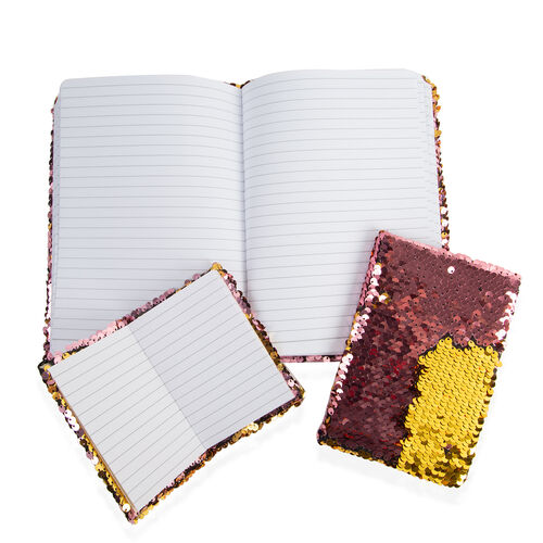 Set of 3 Sequin Covered Notebooks (Big Size 21x15x2 Cm), (Medium Size 15x10.5x1.5 Cm), (Small Size 11.5x8x1 Cm) Colour Pink