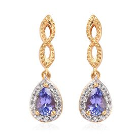 AA Tanzanite and Natural Cambodian Zircon Drop Earrings (with Push Back) in 14K Gold Overlay Sterlin
