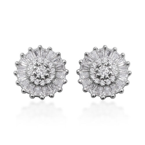 ELANZA Simulated Diamond (Bgt) Floral Stud Earrings (with Push Back) in Rhodium Overlay Sterling Silver