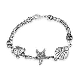 Royal Bali Collection Sea Shelland Starfish and Turtle Tulang Naga Bracelet in Silver 7 Inch