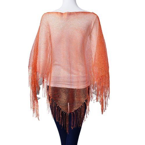 Orange Colour Poncho with Tassels (Size 165x100 Cm)