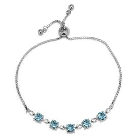 Swarovski Aquamarine Crystal Friendship Adjustable Bracelet in Brass 9 Inch
