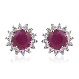 9K Yellow Gold AA  African Ruby (Rnd), Natural Cambodian Zircon Halo Stud Earrings (with Push Back) 3.250 Ct.