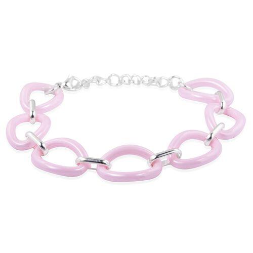 One Time Deal- Pink Ceramic Oval Link Bracelet (Size 8 with 2 inch Extender) with Adjustable Link
