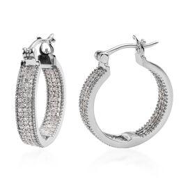 0.97 Ct Diamond Hoop Earrings in Platinum Plated Sterling Silver